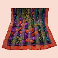 Bob Mackie Long Rectangle Silk Scarf Grapes Fruit Dark Jewel Tones Chiffon Stripe