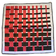Trevira Pink Brown Plaid Weave Pattern Polyester Scarf