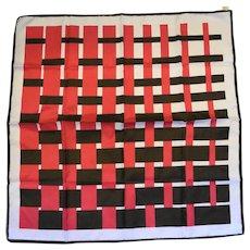 Trevira Pink Brown Plaid Weave Pattern Polyester Scarf