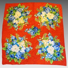 Echo Club & Red Blue Floral Print Silk Scarf Large 33 IN x 34 IN