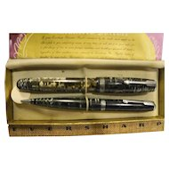 Parker Vacumatic Pen Pencil Set Black Silver Pearl Stacked Coins Design 1930s