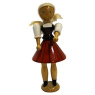 Hungarian Folk Traditional Dress Wooden Peg Doll Figurine Hand Painted