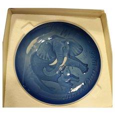 Bing Grondahl Mors Dag Mothers Day Plate Elephant Calf 1986 Blue White Porcelain
