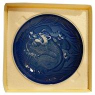 Bing Grondahl Mors Dag Mothers Day Plate Raccoons 1983 Blue White Porcelain