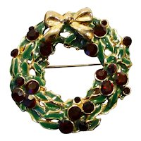 Christmas Wreath Pin Red Rhinestone Green Enamel Gold Tone