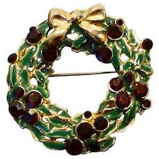 Christmas Wreath Pin Red Rhinestone Green Enamel Gold Tone