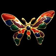 Butterfly Enamel Gold Tone Pin Rhinestone Eyes