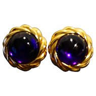 KJL Purple Lucite Domed Cab Earrings Gold Tone Rope Edge