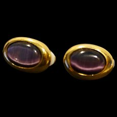 Purple Glass Cab Oval Gold Tone Clip Earrings