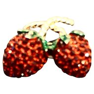 Red Green Rhinestone Strawberries Pin