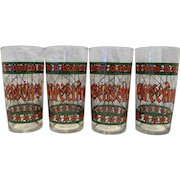 Season's Greetings Stained Glass Red Green Tumblers Set of 4 Christmas