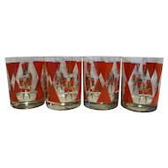 Christmas Nutcracker Barware Tumblers Set of 4 Shelton Designs Cheryl Johnson 1988