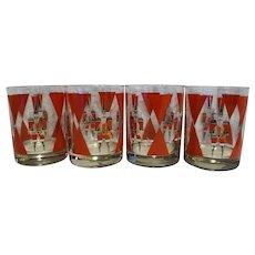 Christmas Nutcracker Barware Tumblers Set of 4 Shelton Designs Cheryl Johnson 1988