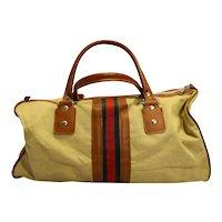Mr Roberts Designer Luggage Canvas Twill Stripe Duffle Bag Khaki Beige 1970s