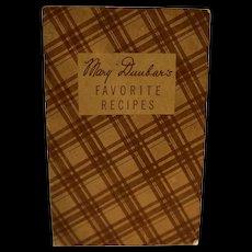 Mary Dunbar Favorite Recipes Booklet 1930s Jewel Tea Premiums
