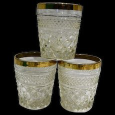 Anchor Hocking Wexford Gold Rim Old Fashioned Glasses Pair