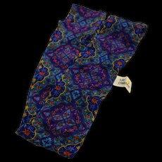 Liz Claiborne Dark Floral Jewel Tones Silk Scarf Narrow Long Made in Japan