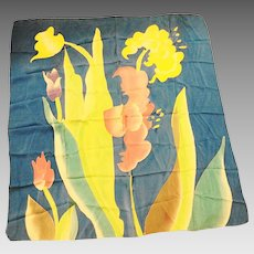 Tropical Flower Print Huge Silk Scarf Shawl Blue Pink Green