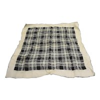Black White Plaid Print Silk Scarf 21 IN Square