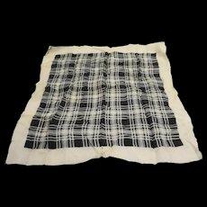 Black White Plaid Print Silk Scarf 21 IN Square