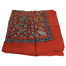 Red Black Paisley Silk Scarf 19 IN Square