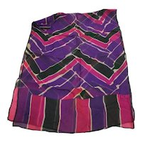 Echo Silk Chiffon Chevron Watercolor Print Purple Pink Green 42 IN