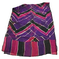 Echo Silk Chiffon Chevron Watercolor Print Purple Pink Green 42 IN