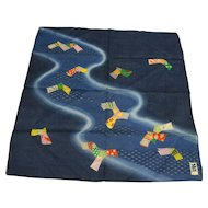 Japanese Kite Print Dark Blue Cotton Handkerchief New Condition