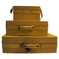 Hartmann Belting Leather Pullman Woodbox Vintage 1970s Golden Oak 3 Pieces Set Suitcases Carry On Free Shipping!
