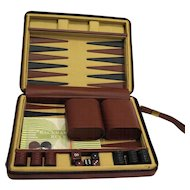 Travel Backgammon Set Zippered Case Canvas Leatherette