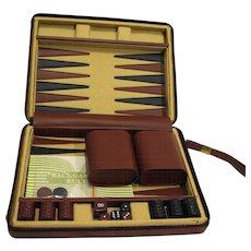 Travel Backgammon Set Zippered Case Canvas Leatherette