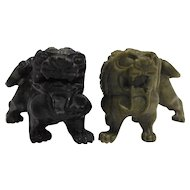 Chinese Carved Foo Dogs Lions Hard Stone Pair Black Green Small