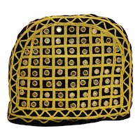 Burgundy Velvet Handmade Tea Cozy Embroidered Gold Cord Mirror Tiles Discs