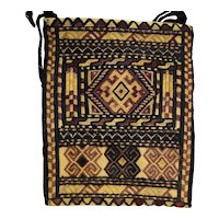 Ersari Ersary Turkoman Turkmen Silk Woven Embroidered Small Bag Purse Shade of Brown Geometric