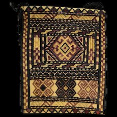 Ersari Ersary Turkoman Turkmen Silk Woven Embroidered Small Bag Purse Shade of Brown Geometric