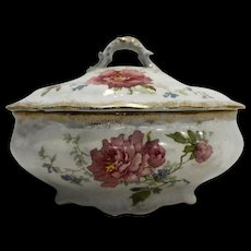Alfred Meakin Ironstone Oval Covered Soap Dish C. 1891 Pink Roses