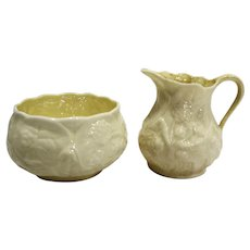 Belleek Ireland Lotus Cream Sugar Pair Yellow Lustre Interior