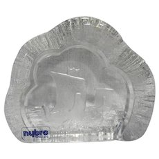 Nybro Sweden Art Glass Viking Ship Cut Paperweight