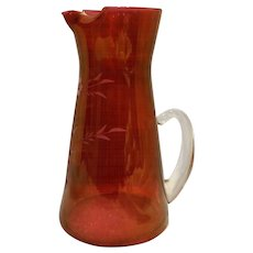 Cranberry Flashed Glass Pitcher Blown Applied Handle Cut Floral