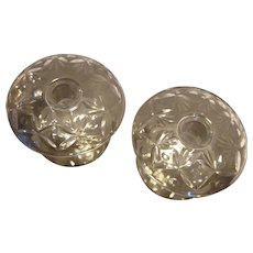 Rolled Rim Wheel Cut Elegant Depression Glass Candle Holders