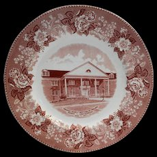 Alfred Meakin Red Transferware Indiana Yearly Meeting of Friends Souvenir Plate 1971