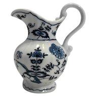 Blue Danube Japan 16 Oz Pitcher White Blue Onion Porcelain