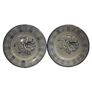 Louisville Stoneware Gaggle of Geese 8 IN Salad Plates Pair