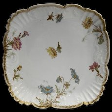 Tresseman & Vogt T&V France Limoges Carnations Square Cabinet Plate 10 1/4 IN
