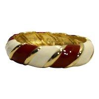 Red Cream Enamel Twist Stripe Clamper Bracelet