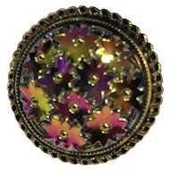 Western Germany Molded Glass Floral Aurora Borealis Scarf Clip