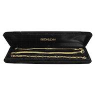 Revlon Gold Tone Chain Bracelets Set of Three With Box