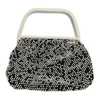 Corde Caviar Beaded Black White Purse Reversible 1950s