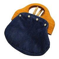 Denim Blue Bermuda Bag Purse Reversible Color Green Calico