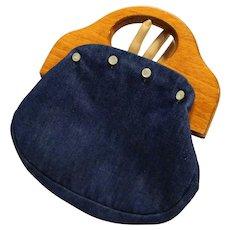 Denim Blue Bermuda Bag Purse Reversible Color Green Calico